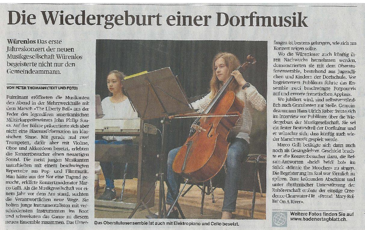 Bericht in der Aargauer Zeitung zum Jahreskonzert 2017